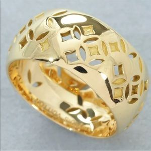 Auth Louis Vuitton LV Petite Berg 18KT Gold Ring